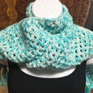 Accessories - Hand knit blue scarf